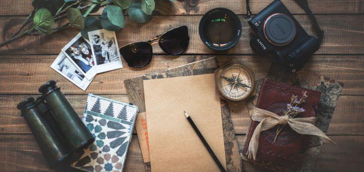 desktop scene with travel items